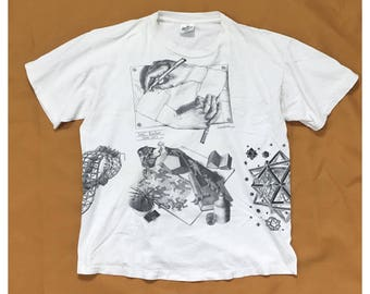 90's MC Escher all over prints tee Andazia tag XL made in U.S.A.