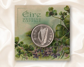 Wedding Sixpence - Irish Harp and Shamrock