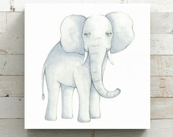 Sweet Elephant Watercolor Canvas Print - Animal Painting Print - Original Art by Angela Weber