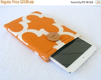 On Sale Now IPad Mini Cover, Kindle Fire Cover, Nook Cover, IPad Mini Case, Kindle Fire Case, Small Tablet Cover, Orange and White Print, 8