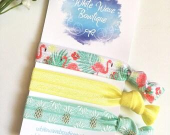 Flamingo hairband, ponytail holder, knotted hairband, FOE hair ties, elastic bracelet, summer