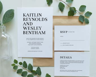 Printable Wedding Invitation Suite | Minimalist Wedding Invitations | Simple Wedding Invites | Modern Wedding Invitations | WI-043