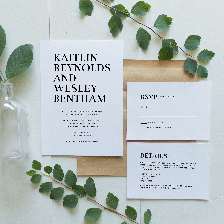 Printable Wedding Invitation Suite Minimalist Wedding