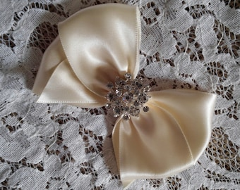 Ivory Satin Hair Bow with Rhinestone Center, Ivory Flower Girl Hair Bow, Pageant Hair Bow
