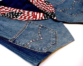 Denim Patriotic Vest, Womens Size Medium Western Americana Cowgirl Original Blue Jeans Eagle Vest, Upcycled Ranch Rodeo OOAK itsyourcountry