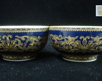 "Pair of Fine Old Chinese Porcelain Cloisonne Gilt Painting Cups Marked ""QianLong"""