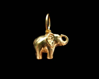 SALE Elephant Charm Pendant Gold Vermeil or Bright Silver 14mm Lucky Elephant Charm CH203