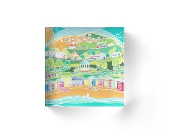 Acrylic block, seaside acrylic, acrylic art, beach hut art block, beach acrylic block, freestanding artwork, acrylic artwork, seaside art