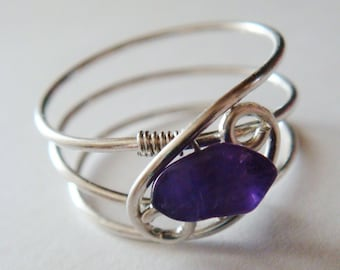 Amethyst Ring, Amethyst Jewelry,  February Birthstone,  Sterling Silver Rings for Women, Silver Rings,  Sterling Silver