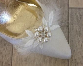 Shoe Clips, Bridal Shoe Clips, Wedding Shoe Clips, Shoe Clips for Wedding Shoes, Bridal Shoes, wedding, wedding shoes, feather, leaf,brooch