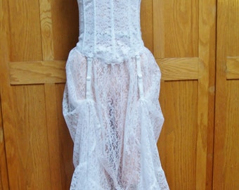SALE, Lace Dress, Strapless dress, Corset Dress, White Lace dress, Corset + Garter dress, size S / M