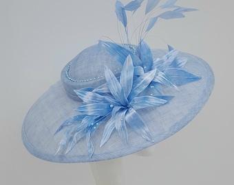 Coral Blue Hatinator, Blue Fascinator, Royal Ascot Hat, Ladies Day Fascinator, Mother of the Bride Hat, Kentucky Derby Hat, Blue Wedding Hat