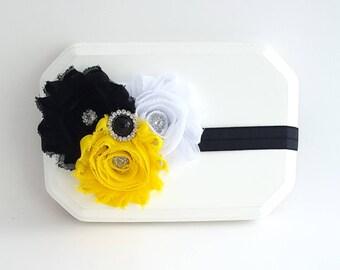 Black and Yellow Headband, Black Headband, Yellow Headband, Bumble Bee Headband, Girls Headbands, Baby Girl Headband, Black Hair Bows