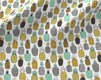 Pineapple Fabric - Pineapple Geometric On White Tiny Small By Caja Design - Tiny Pineapple Mint Cotton Fabric By The Yard With Spoonflower