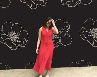 Vintage 1970's Sleeveless Red Polka Dot Button Up Maxi Dress
