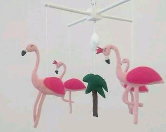 flamingo baby mobile - cute little nursery mobile made to order, flamingo nursery mobile