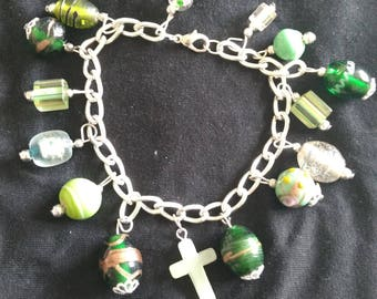 Unique Green Beaded Charm Bracelet