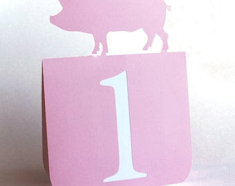 Pig Table Numbers Set of 1 to 25, Farm Wedding, BBQ, wedding table numbers, wedding table decor, BBQ table decor