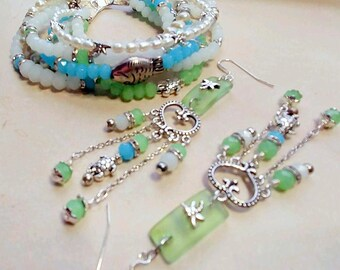 Sea Glass Shades Cuff and Earrings Set/Green/Blue/Milk glass/Dragonfly/Turtle