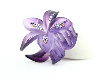Purple flower clip, blur crystal flower hair clip, flower clip w/Swarovski elements crystals, large frosted plumeria hair jaw clip