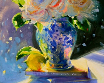 Art Print of 'N SUURLEMOEN, yellow and blue, Classic still life, Delft porcelain, iceberg roses, oil on canvas, painting, art