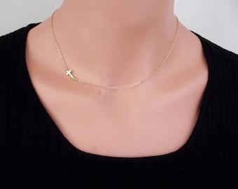 24k Gold Horizontal Sideways Cross Necklace, Gold Sideways Cross Necklace, Petite Cross Charm, Religious Jewelry, Celebrity Inspired Jewelry