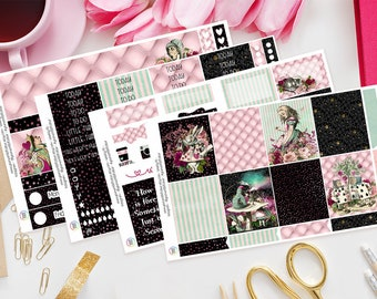 Wonderland | Planner Sticker Kit for Erin Condren, Recollections | Weekly Kit, Vertical Planner, Alice, TN, Pink, Cat, Rabbit, Black