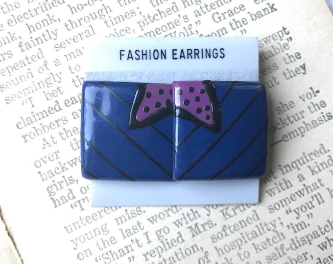 Featured listing image: 80s Earrings, Stud Earrings, Squares, Geo, Geometric, Black, Purple, Funky, 1980s, Vintage Earrings, New Old Stock, Cute Jewelry, Enameled