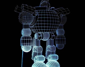 3D illusion Robot Acrylic Leds Sign Laser Engraved  USB Desk Model - Multiple Colors  Remote Control - 6 inches wide fast shipping 09