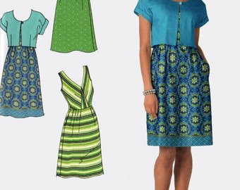 Womens Dress Sundress Jacket Bolero Simplicity 2177 In K Designs Sewing Pattern Average to Plus Size 14-22 UNCUT