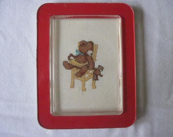 Vintage Framed Counted Cross Stitch for baby 1984
