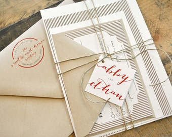 Luella Wedding Invitation Suite with Twine Tie and Monogram Tag - Ivory, Beige, Red and Kraft Brown, Papers, Colors and text  r Customizable