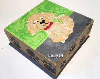 Whimsical poodle dog painting, 4x4 inch acrylic art