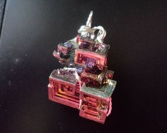 Bismuth Pendant with Silver tone Twist Wire Wrap (1791)