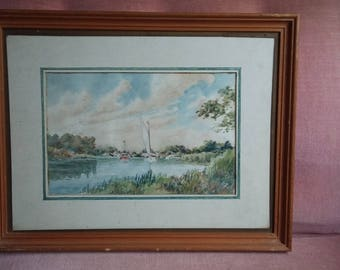 Vintage Watercolour of Boats on a  Lake.