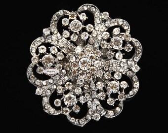 Rhinestone Brooch Component Crystal Flower SilverEmbellishment Wedding Brooch Bouquet Cake Hair Comb Shoe Clip Supply RD247