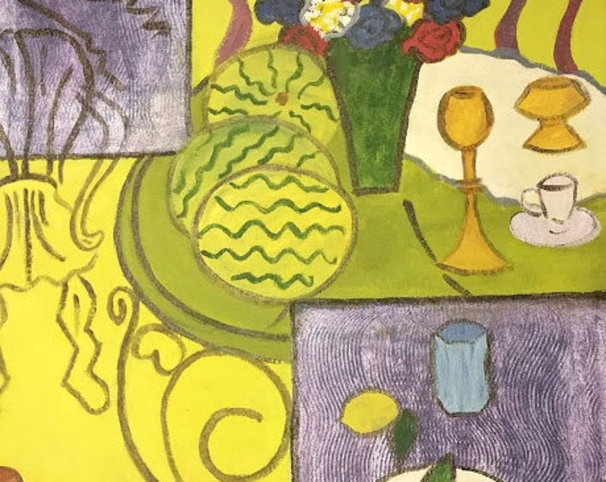 "Titled ""Like Matisee Interior in Yellow & Blue"", Handpainted Floorcloth, Painted Canvas Art Rug, Offered by Artist"
