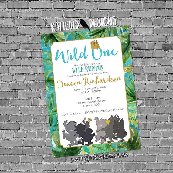 wild one two where the things are tropical palm fronds birthday invitation boy rumpus couples baby shower king crown | 2012 Katiedid designs
