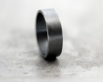 Men's Ring, Unisex Simple Flat 7mm Band Oxidized Argentium Sterling Silver Men's  Band - Made in Your Size