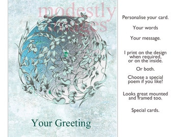 Earth card, Greeting Card, Birthday Card, Anniversary card, Handmade Card, personalised card, artist card, Blank card ,'The Green World '