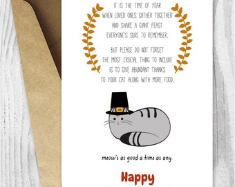 Printable Thanksgiving Cards, Happy Thanksgiving Cat Card, Card Digital Downloads, Funny Thanksgiving Poem Cards for Cat Lovers