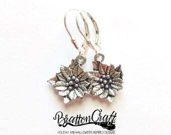 Silver Poinsettia Earrings - Poinsettia Earrings - Christmas Earrings - Holiday Earrings - Christmas Jewelry