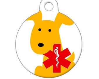 Medical Id Tag - Yellow Dog Medical Alert Pet Tag, ID Tag, Child ID Tag, Dog ID Tag