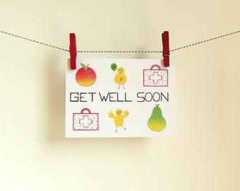 Card Get Well Soon - A6 Postcard - Blank Card - Get Well Card - Get Well Soon Card - Card Recycled Paper.