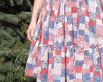 Election Day Fashion Vintage Square Dance Circle Skirt Costume 1950s Americana Patchwork Ruffle Skirt