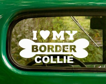 I Love My Border Collie Decal, 2 Decals, Dog Decal, Border Collie Sticker, Dog Sticker, Car Decal, Laptop Sticker, Vinyl Decal