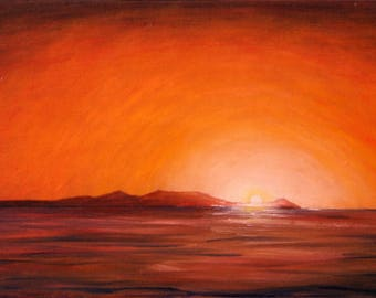 Original oil seascape painting/Arran art/sundown painting/vibrant art/home and office decor.