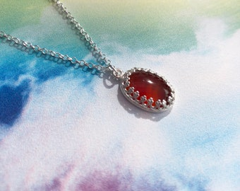 Carnelian and Sterling Silver Necklace, Gifts For Her, Carnelian Jewellery, Carnelian Necklace, Carnelian