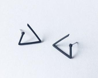 Triangle Stud Earrings - Matte Black earrings - Asymmetric earrings - Minimalist earrings - Post earrings - Stud earrings - Simple stud