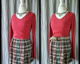 Flannel Tunic, T-shirt Dress, Upcycled Dress, Refashioned Clothing, Belted Dress, Size Small-Med